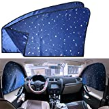 Car Side Window Sun Shades - 2 Pcs Sun Protection Front Magnetic Privacy Sunshades Travel by Car Windshield Curtain for Baby Kids Sleep