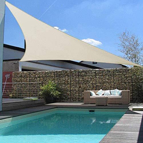 HaoLin Paño De Sombra 90% Paño De Sombra De Color Tejido De Sombra Borde Liso Resistente A Los Rayos UV con Ojales Techo De Red De Sombra Balcón Techo De Pérgola,Beige-3x3x3m(9.8x9.8x9.8ft)