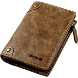DIDE Amazon限定ブランド 財布 メンズ 二つ折り 本革 L字型ファスナー 小銭入れ (カーキ)