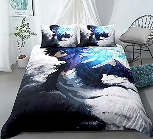 XFLYX 3-piece Quilt Cover for My Hero Academia Dabi Blue Flame, 3D Anime, 100% Polyester, Soft And Comfortable, Bedding Best Birthday Gift (Size : AU-Single(140cm×210cm))