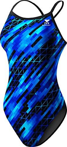 TYR SPORT Women's Echo Dash Diamondfit Swimsuit (Blue, Size 36)