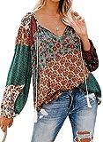 HOTAPEI Summer Formal Cute Long Sleeve Floral Boho Bohemian Chiffon Peasant Deep Split V Neck Loose Blouses for Women Fashion 2020 Plus Size Navy Orange US 12 14