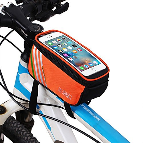 YAJAN-Bikebag Bike Bag Mountainbike Frontstrahl Oberrohr Reiten Rohr Werkzeug Ausrüstung Touchscreen Handy (4,8/5,7 Zoll),Orange