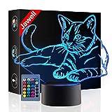 Weihnachtsgeschenk Haustier Katze Spielzeug 3D Illusion Lampe Nachtlicht Neben Tischlampe, Jawell 16...