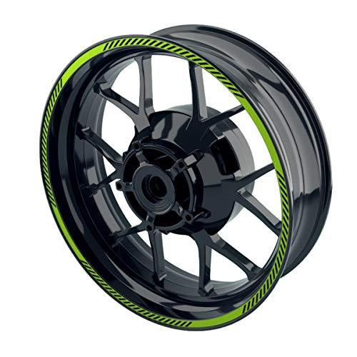 OneWheel Felgenaufkleber Motorrad - Premium Felgenstreifen | Wheelsticker Set für Vorder- & Hinterrad V6 - Felgenrandaufkleber - viele Farben (grün)