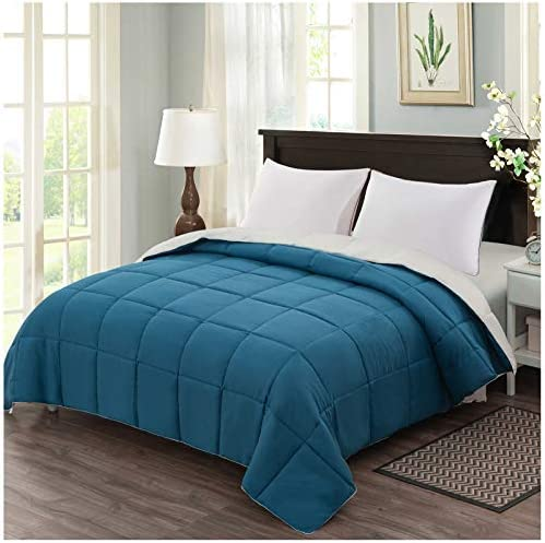 Homelike Moment Reversible Lightweight Comforter Queen Teal Ivory All Season Down Alternative product image