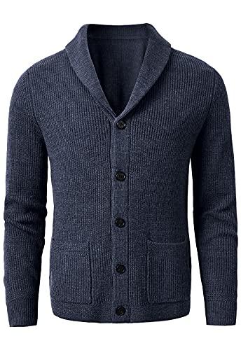 Cardigan da uomo con collo a scialle e bottoni, in lana merino grigio scuro, Marina Militare, 4XL