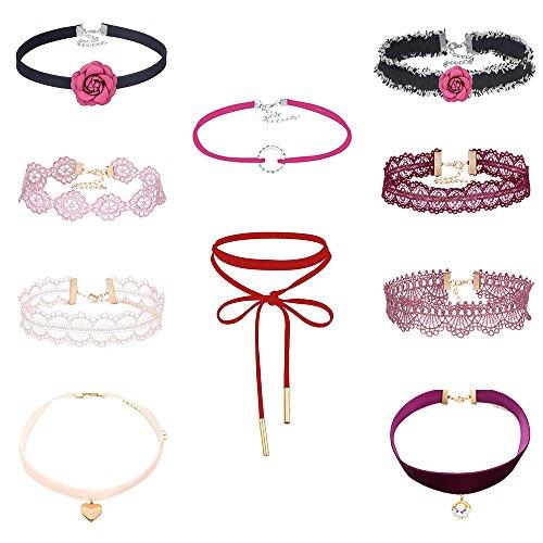 MingJun Pack von 10 rosa und rote Blume Choker Halskette Set Länge verstellbaren Vintage eleganten Spitze Halskette Kragen