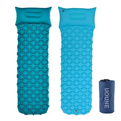 UOUNE Isomatte Camping Schlafmatte Aufblasbar Wasserdicht Faltbar mit Kissen - Luftmatratze klappbar - Ultraleicht und Kleines Packmaß - Liegematte für Outdoor, Wandern, Backpacking,Trekking
