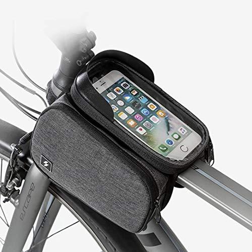 Bolsa para cuadro de bicicleta, visera solar y cubierta para la lluvia, con orificio para auriculares, pantalla táctil Tpu adecuada para teléfonos inteligentes de menos de 5.7 pulgadas (gris)
