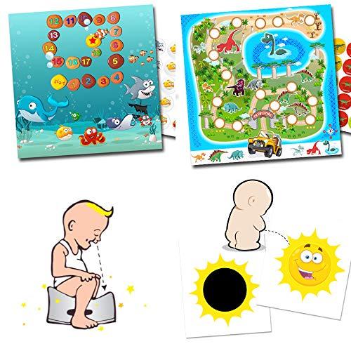 Set de recompensa para orinal, entrenamiento para pegar, 2 pegatinas mágicas para el orinal, selecciona entre diferentes sistemas de recompensa Aquarium + Dinos + 2 x Sonne