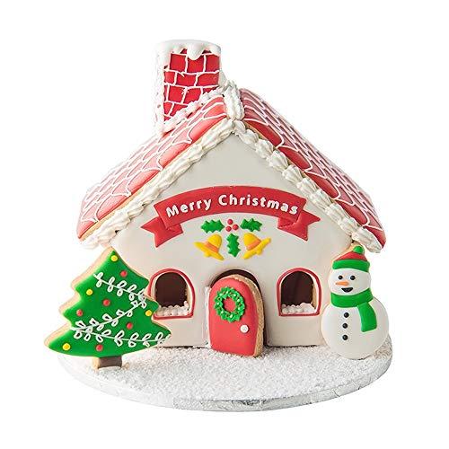 Lebkuchenhaus-Ausstechformen mit passenden Plätzchen-Schablonen, Set mit 12–8 Ausstechformen und 4 passenden Schablonen, inklusive Lebkuchenhaus, Weihnachtsbaum und Schneemann