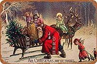 クリスマスプレゼントサンタムース(1)さびた錫のサインヴィンテージアルミニウムプラークアートポスター装飾面白い鉄の絵の個性安全標識警告バースクールカフェガレージの寝室に適しています