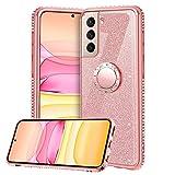 TVVT Glitter Crystal Funda para Samsung Galaxy S21 Plus 5G, Glitter Rhinestone Bling Carcasa Soporte Magnético de 360 Grados Ultrafino Suave Silicona Lujo Brillante Rhinestone - Rosa