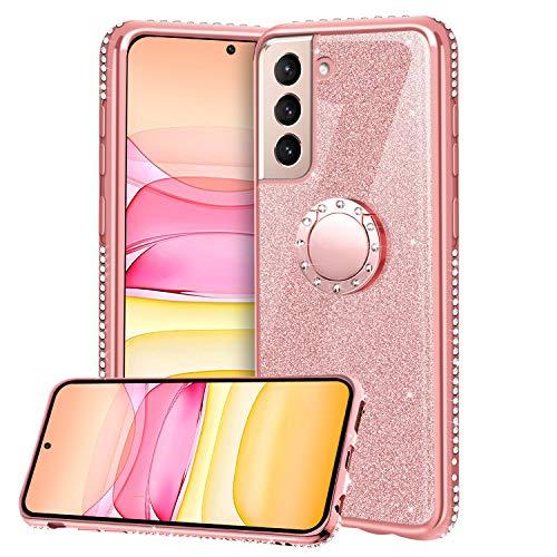 Funda para Samsung Galaxy S21 5G, Glitter Brillante Diamante Carcasa Soporte Magnético de 360 Grados Anillo Giratorio Suave Silicona Gel TPU Anti-Choques y Anti- Arañazos Protectora Carcasa - Oro Rosa