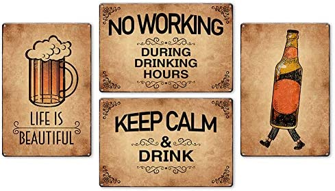 IARTTOP Vintage Bar Iron Painting Funny Drinking Beer Retro Metal Tin Wall Art Poster Set of product image