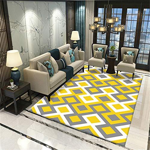 Teppich Schlafzimmer deko Rutschfester und leicht zu reinigender gelbgrauer geometrischer Designteppich sitzecke küche deko Kamin 60*160CM