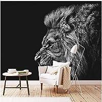 Lcymt 現代の黒と白の動物ライオン壁画リビングルームテレビソファBackrgound壁の装飾壁画-150X120Cm