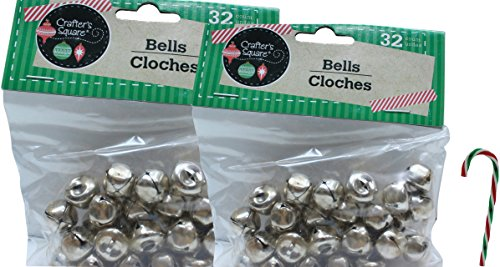 """Potomac Banks Pack of 2 Crafter's Square Craft Jingle Bells Silver (32 Count 1/2 Inch) with Free 6"""" Candy Cane Ornament (Comes with Free How to Live Stress Free Ebook)"""