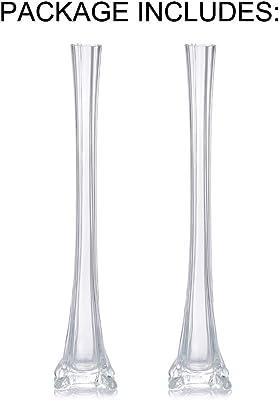 Nuptio Florero de la Torre Eiffel de 2 Piezas//Centro de Mesa de Cristal de la Boda//Florero Delgado de 40cm de Altura para Banquetes