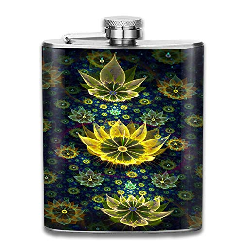 Fantasy Lotus Pond Fashion Portable Stainless Steel Hip Flask Whiskey Bottle for Men and Women 7 Oz
