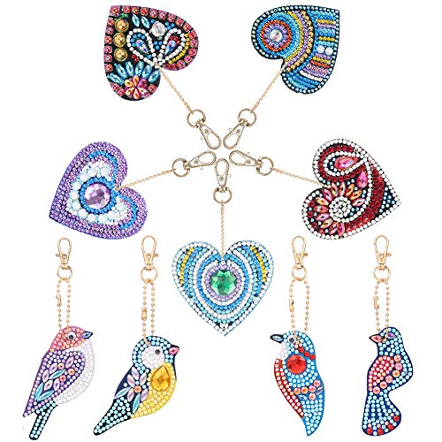 hellomagic 9 Pieces DIY Diamond Painting Keychain, Butterfly and Magpie Diamond Painting Kits 5D Full Drill Diamond Painting Key Rings