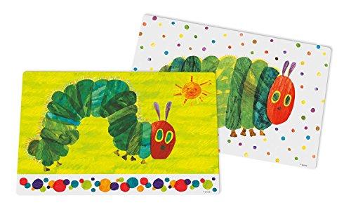 Raupe Nimmersatt grün & Punkte 2er Set Platzset 2-teilig, Kunststoff, Bunt, 43 x 29 x 0,2 cm, 2-Einheiten
