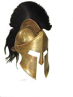 AnNafi Greek Spartan Helmet,SCA Armor Adult,Medieval Roman 300 King Leonidas Movie Helmets+Liner+Wooden Stand (Brass Finish)