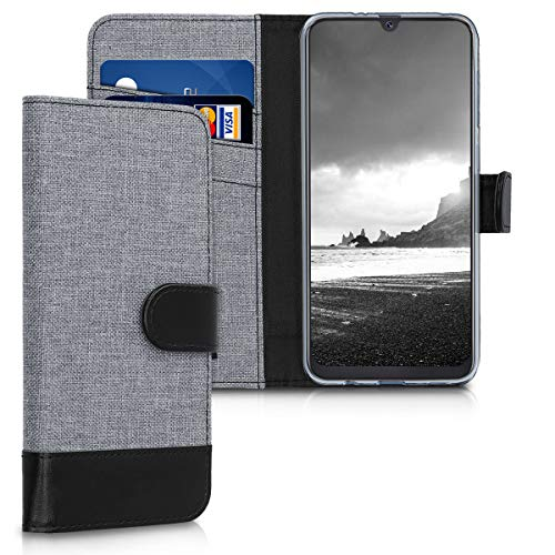 PU Leather and Canvas Wallet Case for Samsung Galaxy A50- Grey/ Black