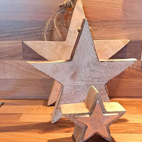 Sterset van mangohout 10 cm met metalen plaat & 20 cm & 25 cm om op te hangen kerstdecoratie ster set