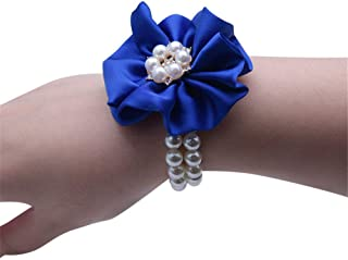 Flonding Wedding Bridal Wrist Corsage Bride Wrist Flower Corsages Pearl Stretch Bracelet Wristband for Girl Bridesmaid Prom Homecoming Hand Flowers Decor (Royal Blue, Pack of 2)