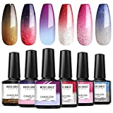 Modelones Mood Gel Nail Polish Set Temperature Color Changing Gel Colors Collection Red Blue Glitter Gel Polish Soak Off 6 Colors Gift Box for Nail Art DIY at Home