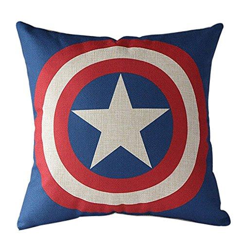 Vipbuy Comic Superhero cotone lino decorativo quadrato cuscino del divano vita cuscino 45,7x 45,7cm, Lino, Captain America, 45 x 45 cm