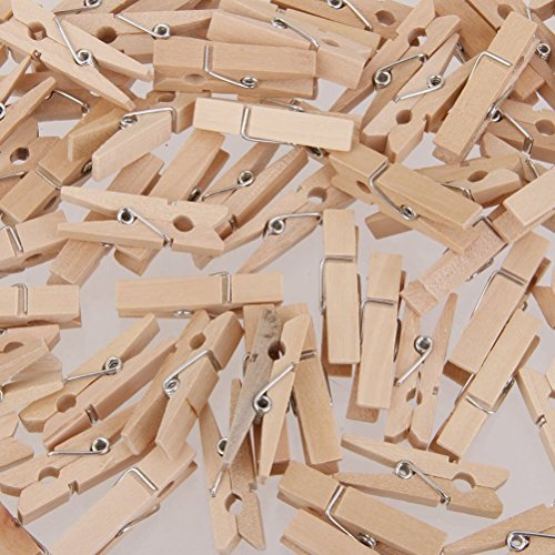 KINTRADE 100Pieces Mini Wooden Craft Pegs 30mm Art Wedding Hanging Photo Clips Clothes Pins