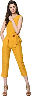 Glampunch Women's Yellow Button Jumpsuit