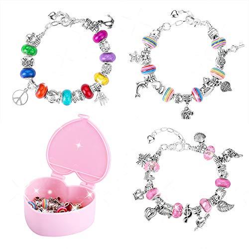 Wenosda Bracelet Making Set DIY Jewellery Bangles Kit Beading Chain Silver Plated Jewelry Bracelets for Girls Kids Gifts (3 Sets) Bamboo Silver Bracelet Bangle