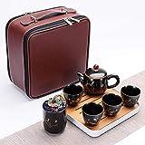 Ksnrang Set da tè da Viaggio in Ceramica in Stile Cinese retrò da Lavoro Borsa per Il Trasporto Riunione Festiva Regalo pubblicitario Personalizzazione Logo-Inverno
