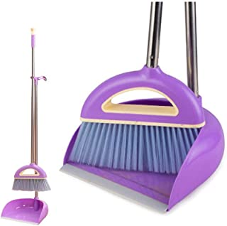Broom and Dustpan Lobby Broom and Dustpan with Handle Solid Handled Dust Pan- Stand Up Design- Accommodates Any Broom Hand Brush- Best Dustpans for Home Lobby Shop GARAGE (Purple)