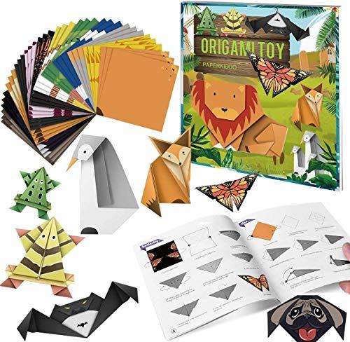 PaperKiddo 96 Hojas Papel de Origami con 12 Proyectos Fáciles De Origami Libro instructivo Coloreado Papel de Origami o Niños Adultos Principiantes Lecciones de formación y artesanía Escolar