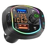 YUESUO Bluetooth FM Transmitter, Car Radio Adapter Handsfree Car Kit, Bluetooth 5.0 Music