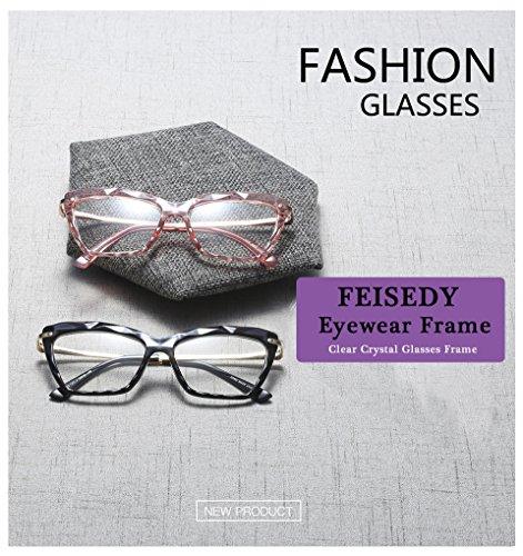 FEISEDY Cat Eye Glasses Frame Crystal Non Prescription Eyewear Women B2440