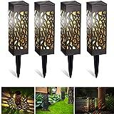 Kefflum Wegeleuchten Solarleuchten Garten LED Solarlampe Gartenleuchte für draußen 4 Stück Warmweiße LED Wasserdicht IP55,600mAh Batterie, Decorative Solarlampe für Terrasse Garten Rasen Hof Gehweg