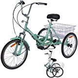 """VANELL 20"""" 7 Speed Tricycle Adult Trike Cruise Bike - Foldable 3 Wheeled Bicycle - with Large Size Basket Backrest Seat - for Women Men for Shopping Exercise Recreation (Mint, 20')"""