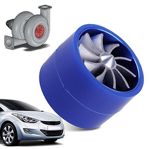 beler Blue Universal Auto Supercharger Turbonator Double Turbine Turbo Air Intake Fan Fuel Gas Saver