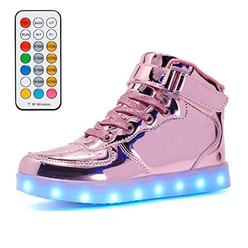 LILI Kinder Blinkende Schuhe Aufladen Von USB-Mädchen Mit Lichtern High-Top Ghost Dance Bunte Blitzschuhe Jungen Lichter Sportschuhe,Pink-34EU
