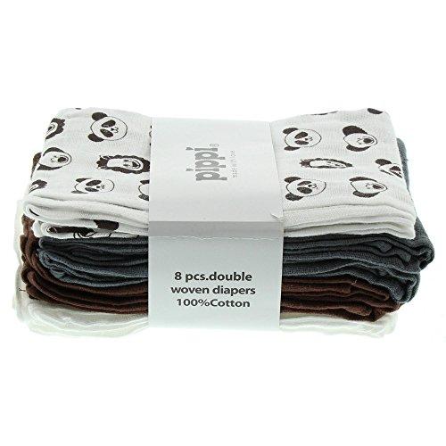 Pippi Pippi Baby - Mädchen Schal Diapers Ao-printed 8er Pack, braun, Einheitsgröße (Herstellergröße:70*70 cm)