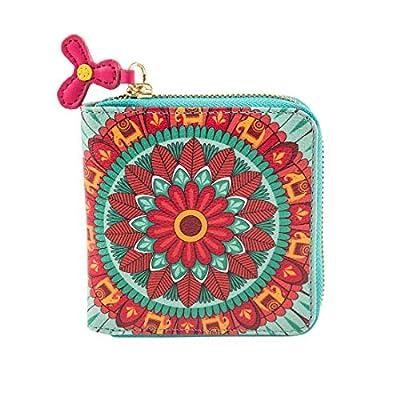 "Chumbak Indian Mandala Wallet - Mini - Wallet for Women, Zipper Coin Purse, Printed Design, Card Holder Organizer, Pocket Wallet, All Round Zip Closure, Compact Purse, Size 4.5""x4.7"""