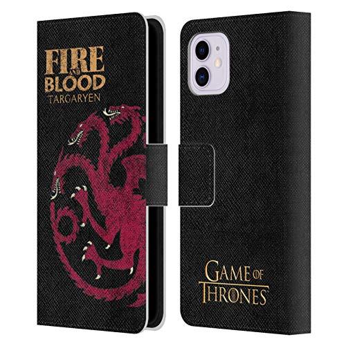 Head Case Designs Licenciado Oficialmente HBO Game of Thrones Targaryen Lemas de La Casa Carcasa de Cuero Tipo Libro Compatible con Apple iPhone 11