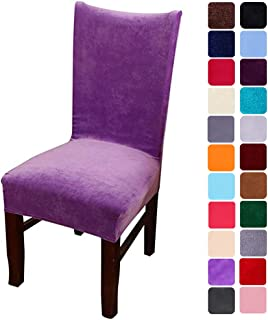 smiry Velvet Stretch Dining Room Chair Covers Soft Removable Dining Chair Slipcovers Set of 6, Light Purple