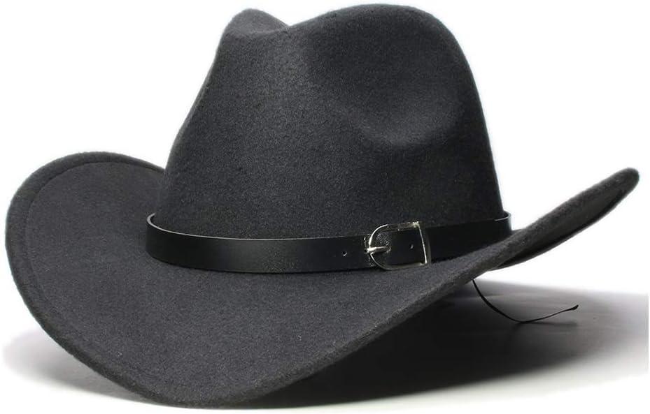 GR Vintage Women's Men's Wool Fedora Hat Wide-Brimmed Cowboy Western Cap Cowgirl Hat Black Leather Band (Color : Black, Size : 56-58cm)